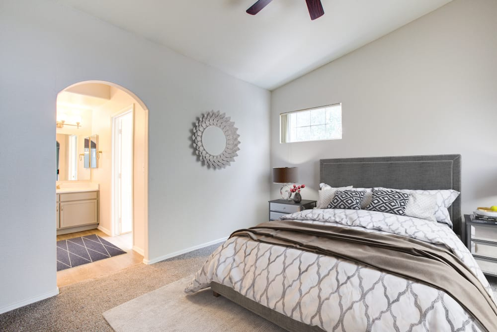 Model bedroom with white walls at The Sterling in Gilbert, Arizona