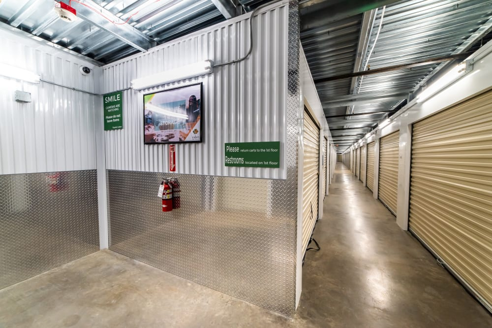 Interior storage units at Cubes Self Storage in Covington, WA