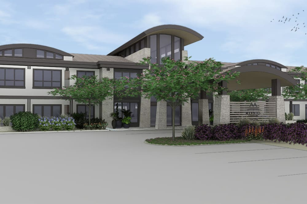 Rendering of main entrance at Merrill Gardens at Brentwood in Brentwood, California