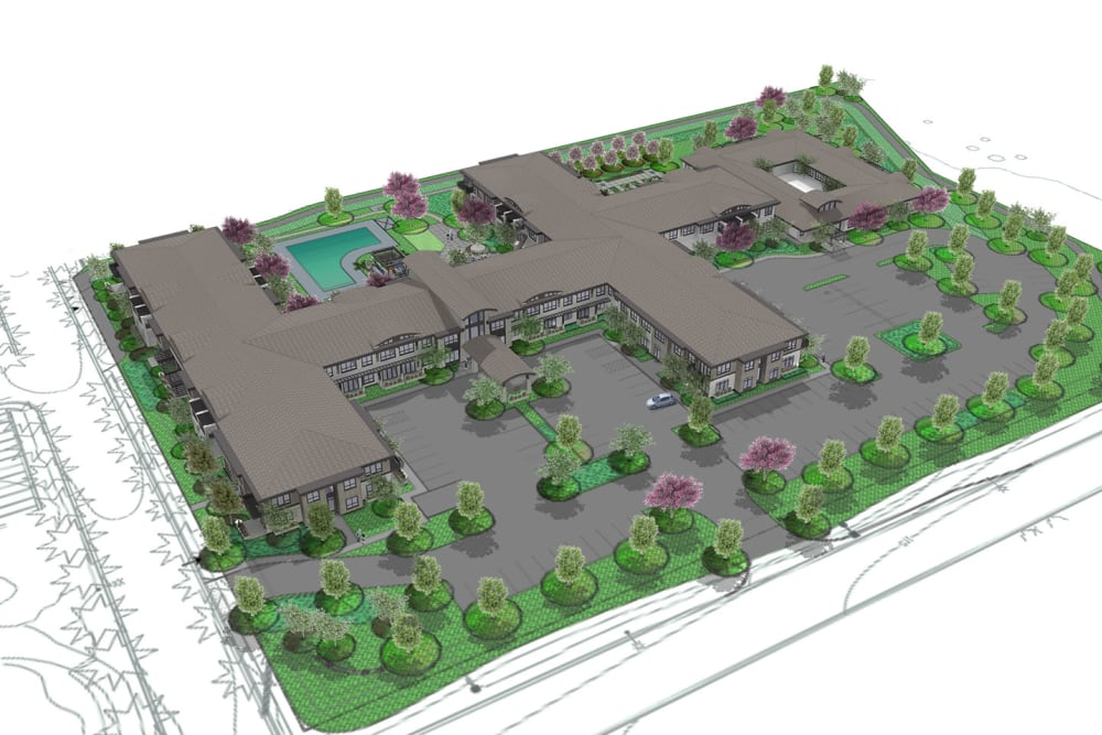 Rendering of aerial view of Merrill Gardens at Brentwood in Brentwood, California