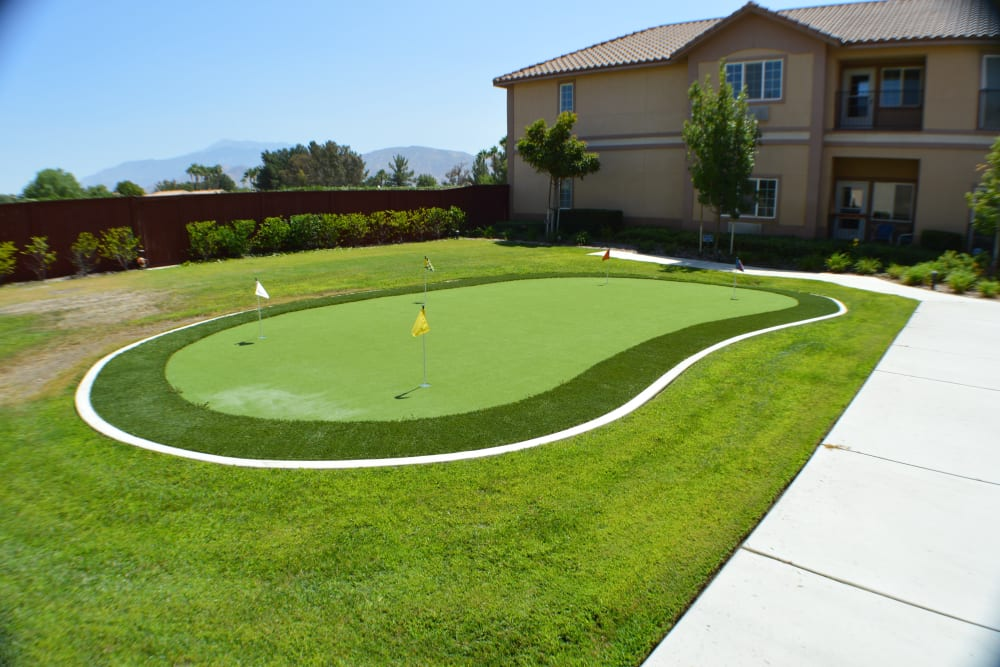 Putting area at The Lakes at Banning in Banning, California.