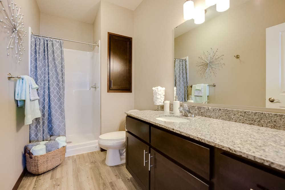 Large bathroom with a stand-up shower at Remington Cove Apartments in Apple Valley, Minnesota
