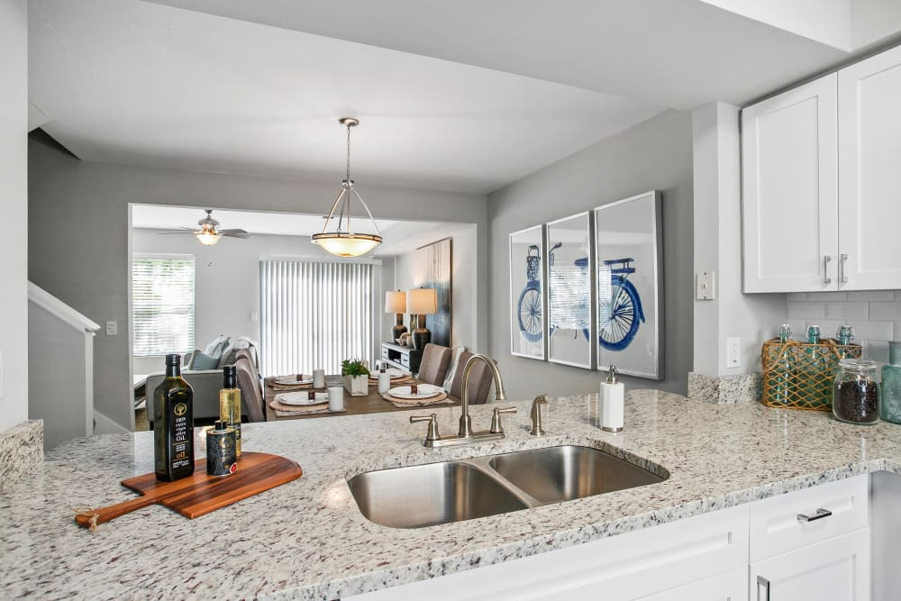 Expansive kitchen granite countertop with a dual-basin stainless-steel sink in a model home at The Coast of Naples Florida in Naples, Florida