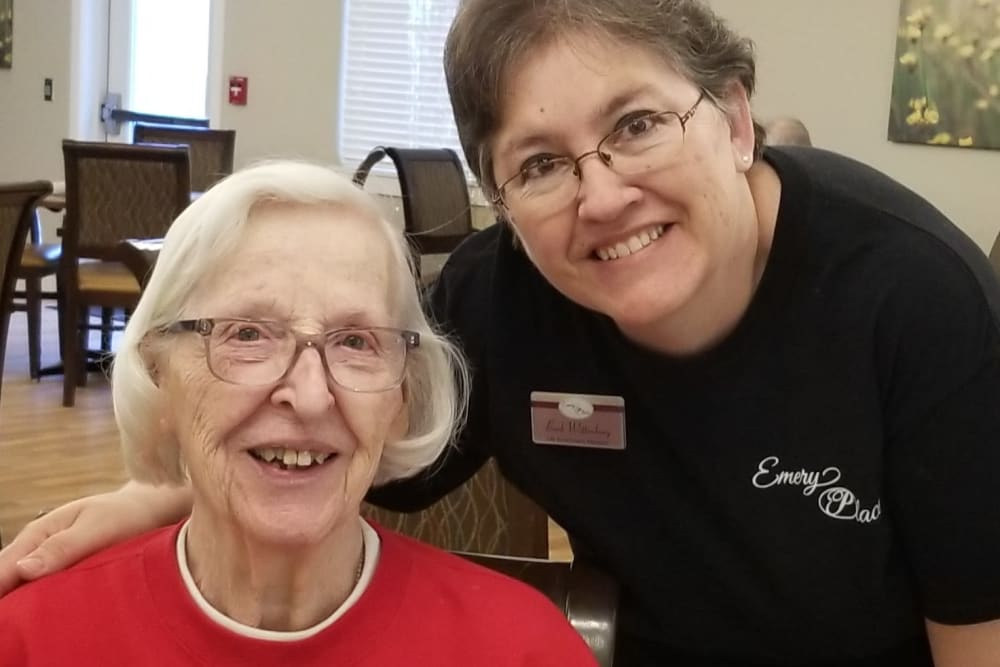 Resident and staff at Emery Place in Robins, Iowa