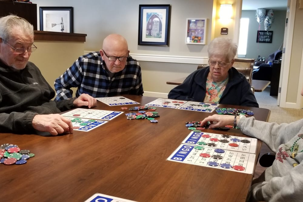 Residents playing Bingo at Emery Place in Robins, Iowa