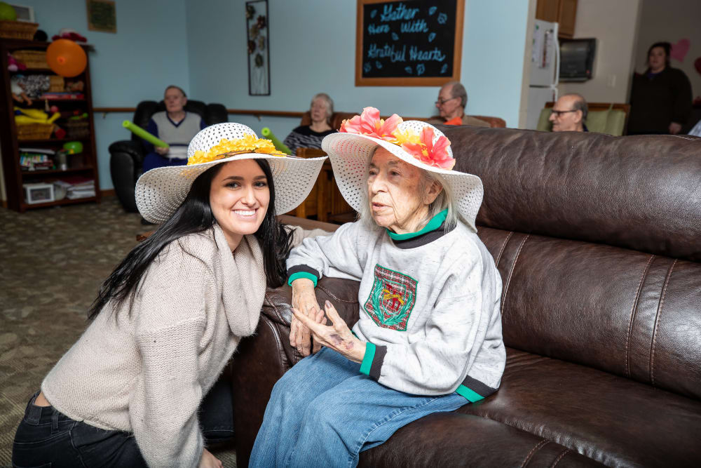 Fancy hat day at Parker Place in Parkersburg, Iowa