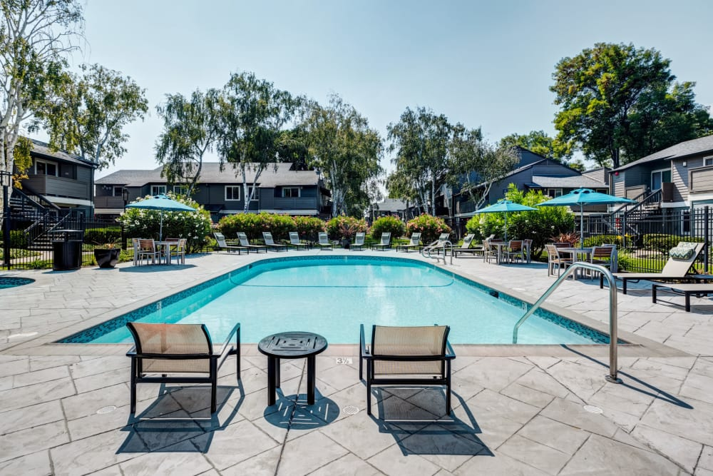Swimming pool area with plenty of seating nearby at Sofi Union City in Union City, California