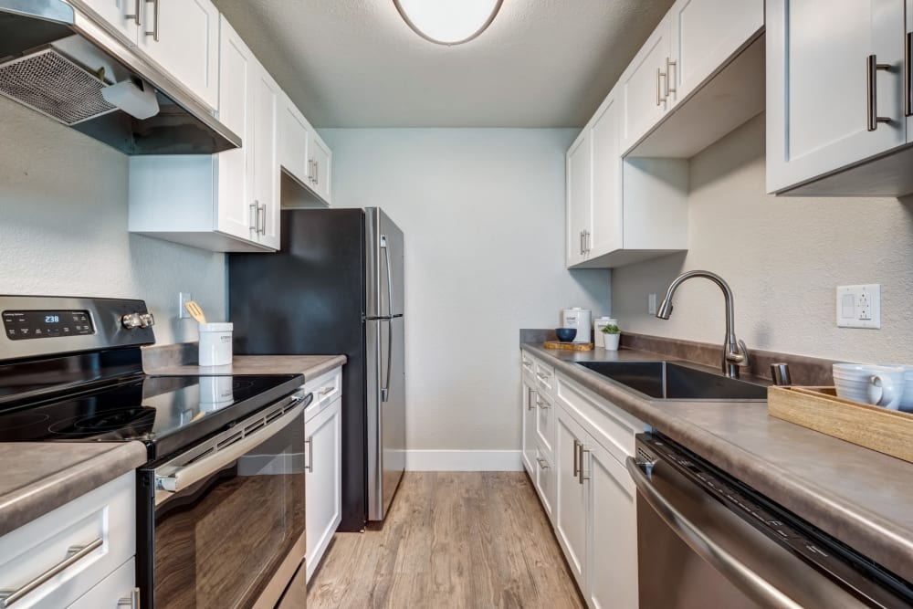Kitchen featuring many modern amenities at Sofi Union City in Union City, California