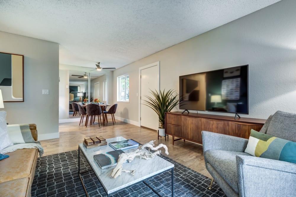 Spacious living room at Sofi Union City in Union City, California