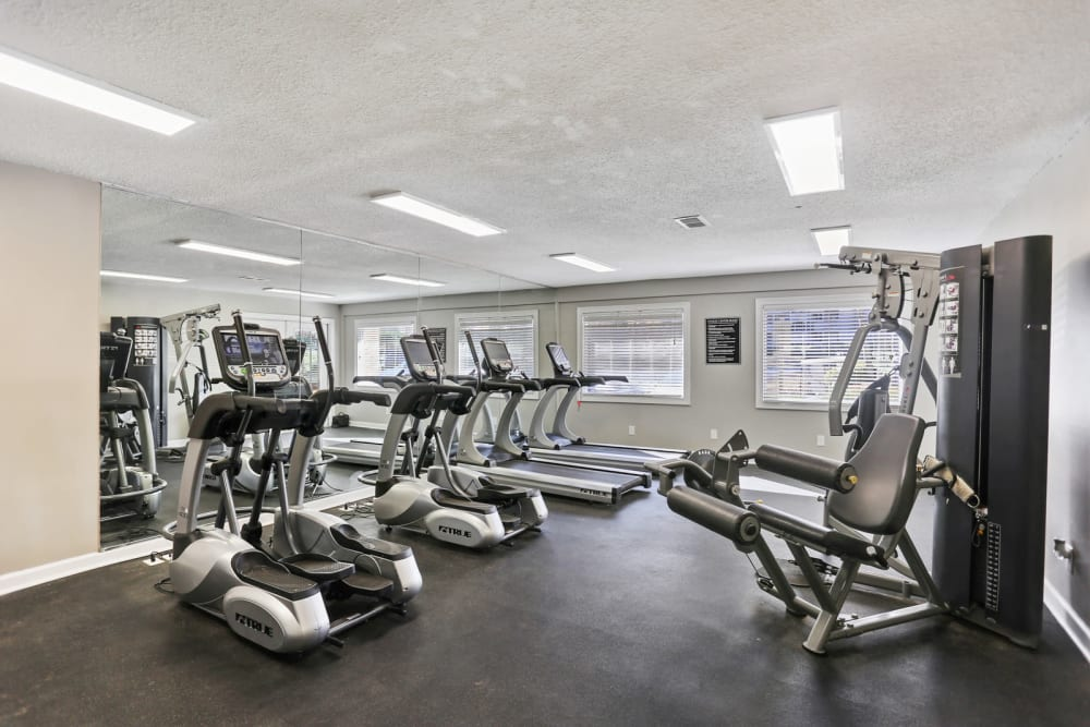 Well-equipped onsite fitness center at Reserve at Peachtree Corners in Norcross, Georgia