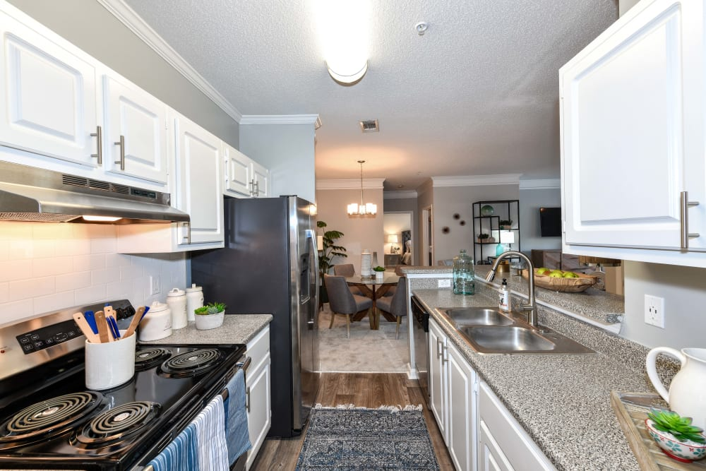 Bright white cabinetry and sleek black appliances in a model home's kitchen at 860 South in Stockbridge, Georgia