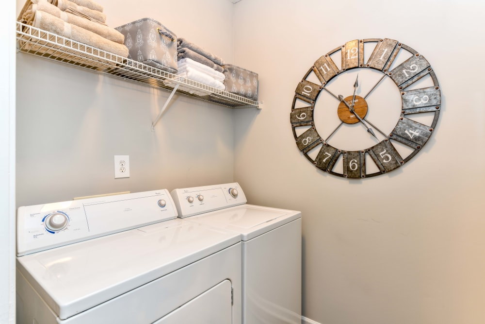 Full-size washer and dryer in a model home at 860 South in Stockbridge, Georgia