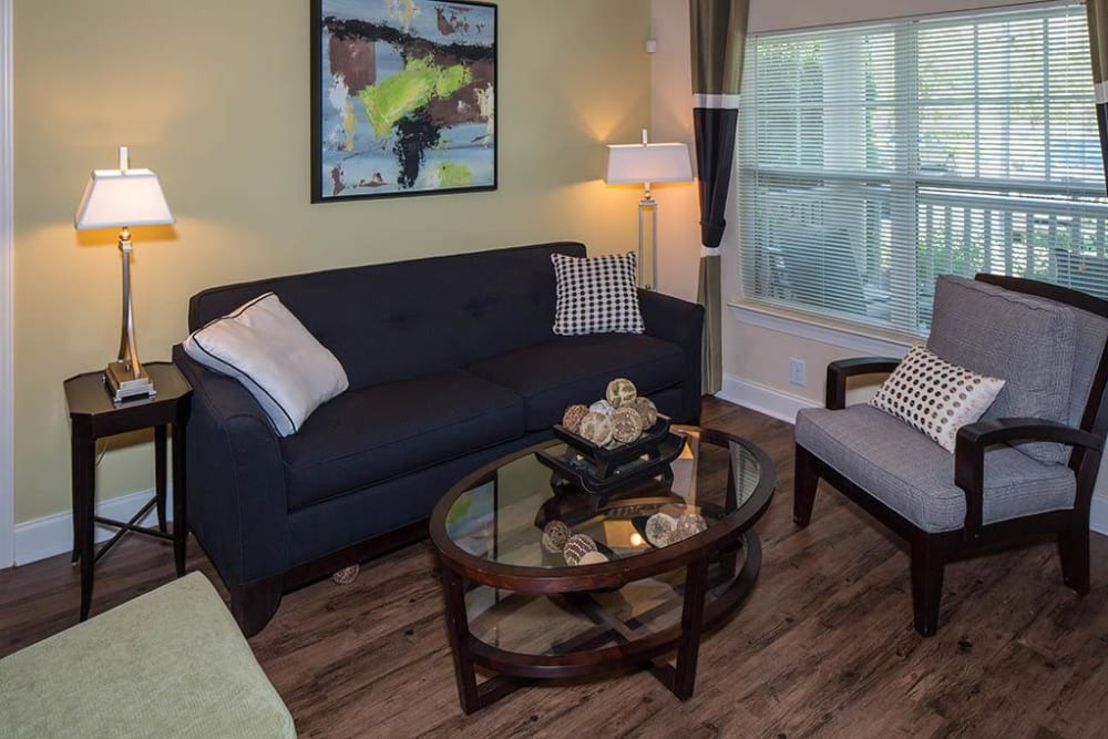 Cozy and well-furnished living area in a model home at The Preserve at Greison Trail in Newnan, Georgia