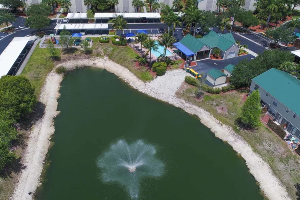 Aerial view of the lake and fountain at our community at The Coast of Naples Florida in Naples, Florida