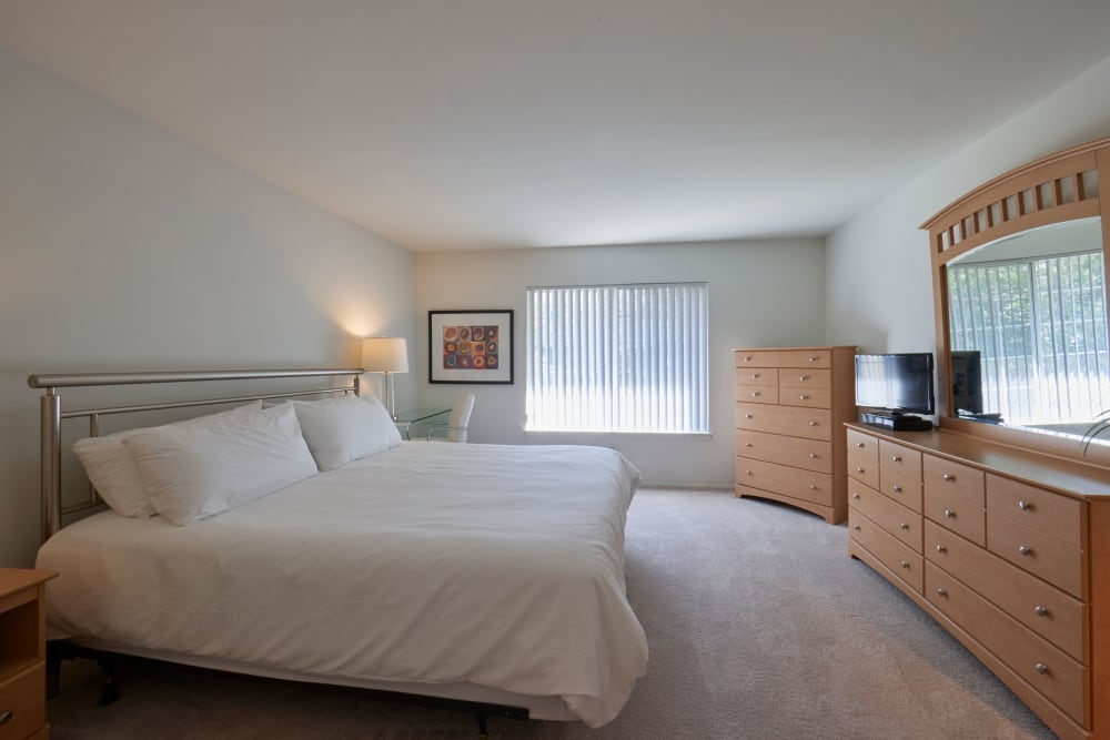 Model bedroom at Five Points in Auburn Hills, Michigan