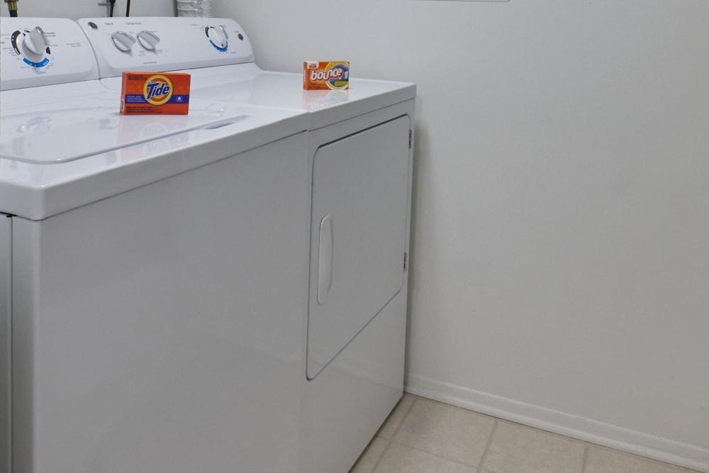 In unit washer and dryer at Fairmont Park Apartments in Farmington/Farmington Hills, Michigan