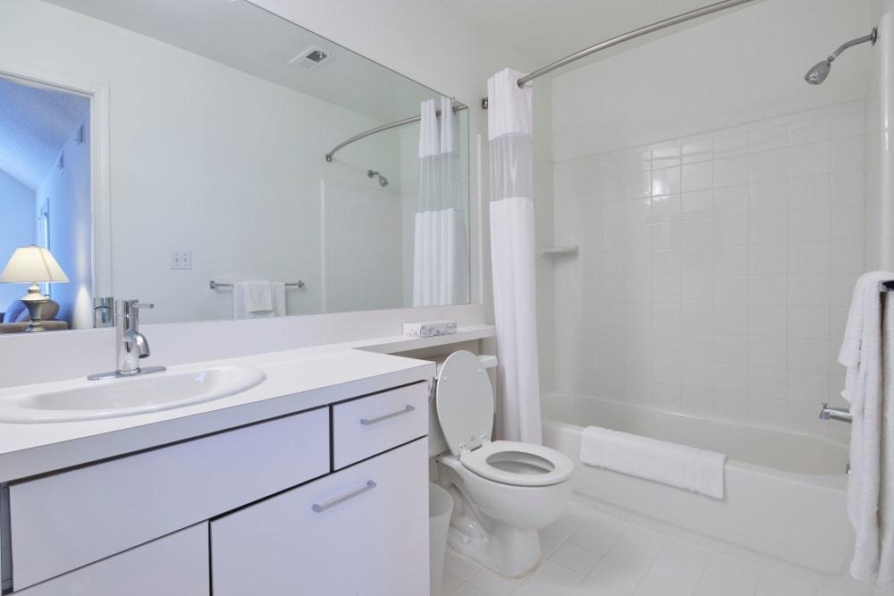 Model bathroom with oval tub at Briar Cove Terrace Apartments in Ann Arbor, Michigan