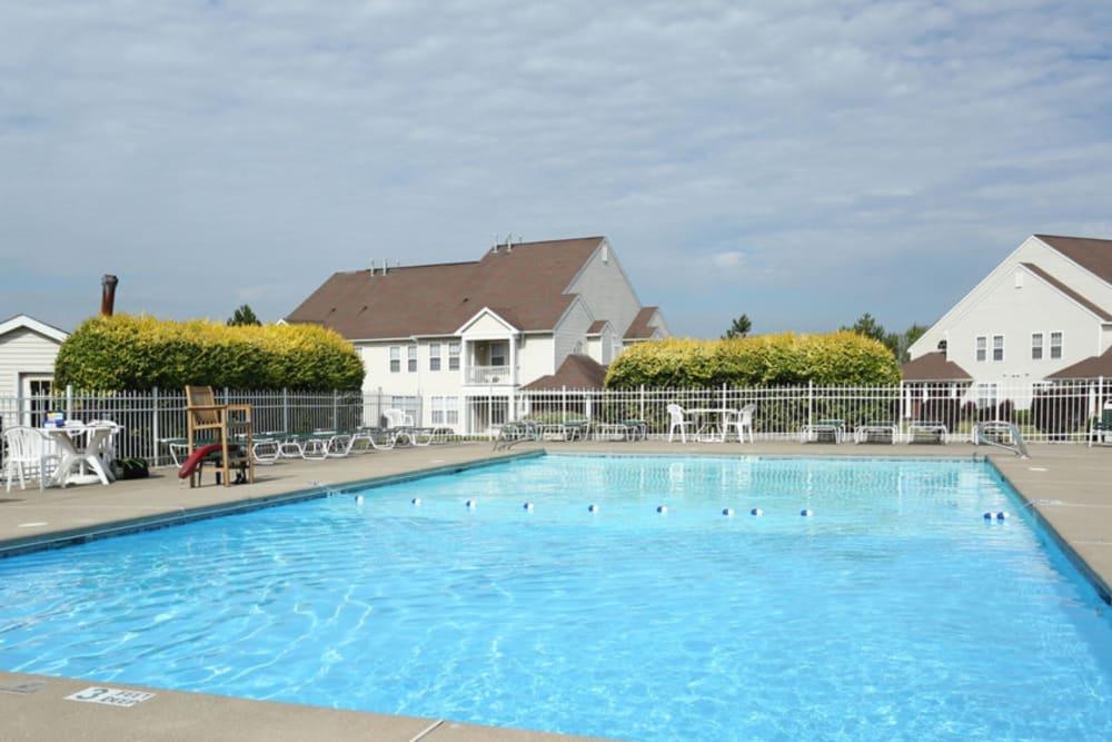 Sparkling pool at Bennington Hills Apartments in West Henrietta, New York