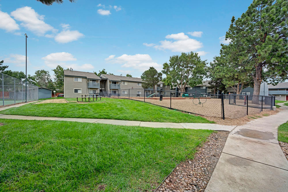 Walkways and dog park at Hampden Heights Apartments in Denver, Colorado