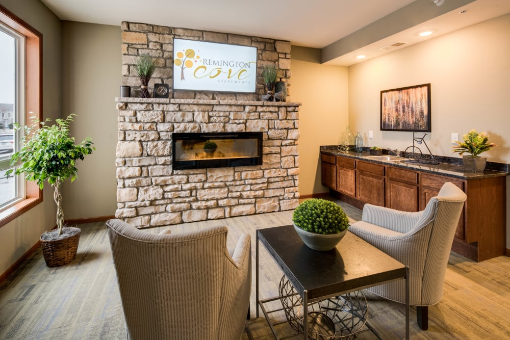 Lobby fireplace at Remington Cove Apartments in Apple Valley, Minnesota