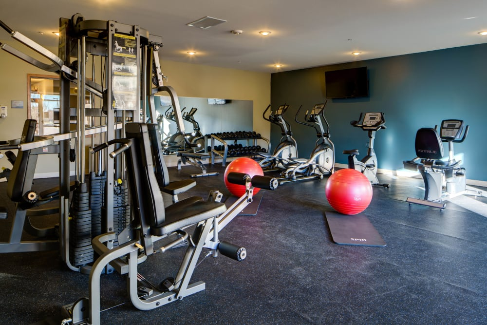 Fitness center with individual workout stations at Remington Cove Apartments in Apple Valley, Minnesota