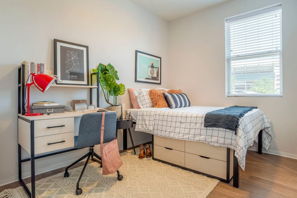 Well decorated, bright bedroom at UNCOMMON Tuscaloosa in Tuscaloosa, Alabama
