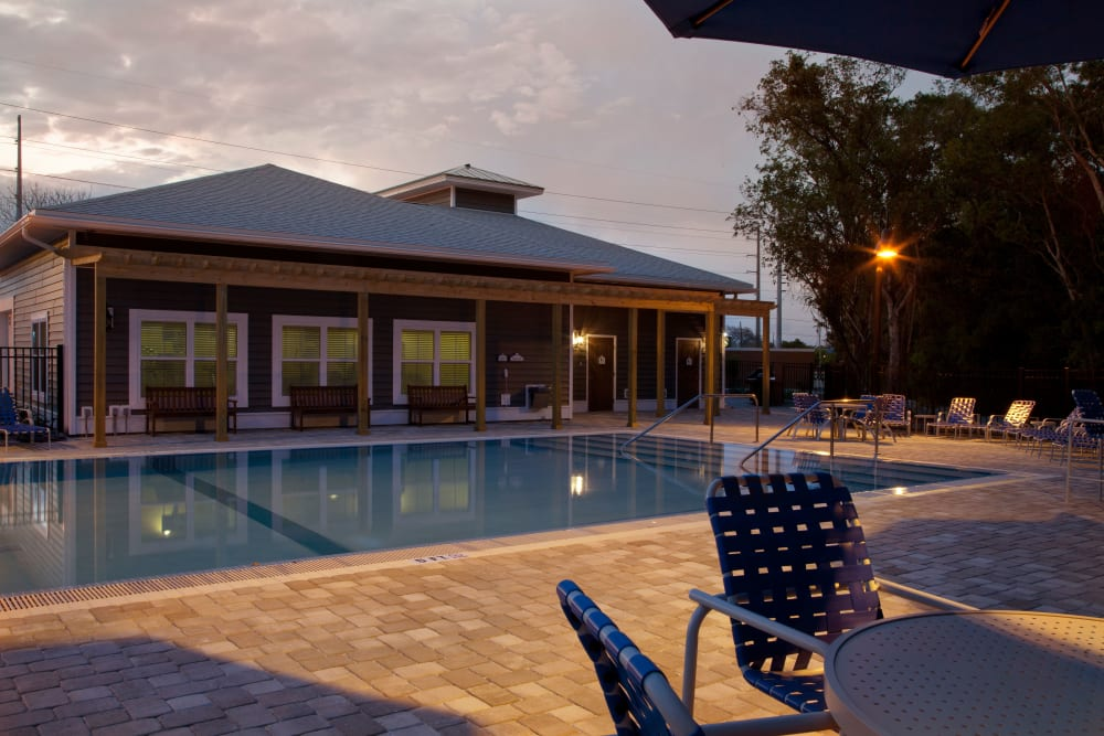 Pool at dusk at Keys Lake Villas in Key Largo, Florida