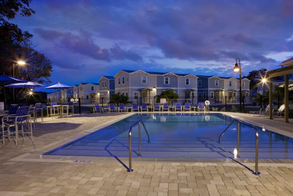Gorgeous pool at night at Keys Lake Villas in Key Largo, Florida