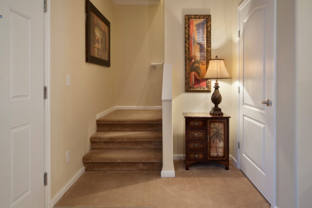 Staircase in unit at Keys Lake Villas in Key Largo, Florida