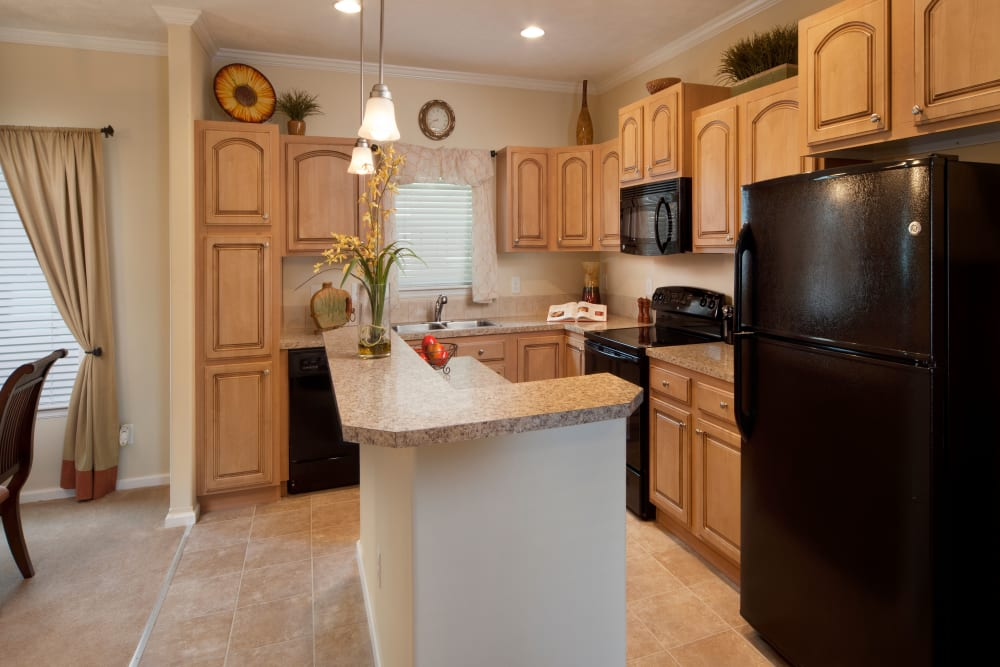 Kitchen with black appliances at Keys Lake Villas in Key Largo, Florida
