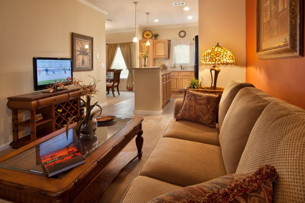 Warm living room at Keys Lake Villas in Key Largo, Florida