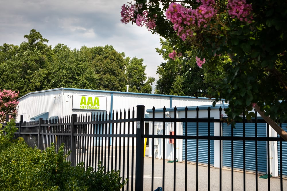 Gate around the property at AAA Self Storage at Griffith Rd in Winston Salem, North Carolina