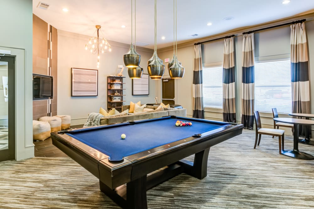 Pool table for resident use at The Sovereign in Fort Worth, Texas