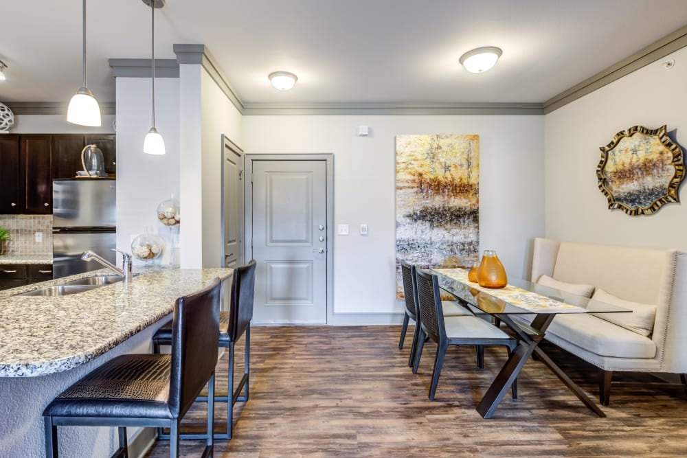 Open concept floor plan with modern decor at The Sovereign in Fort Worth, Texas