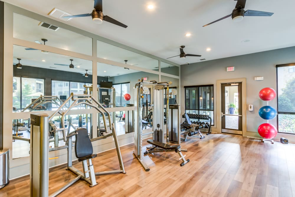 Plenty of individual workout stations in the fitness center at The Sovereign in Fort Worth, Texas
