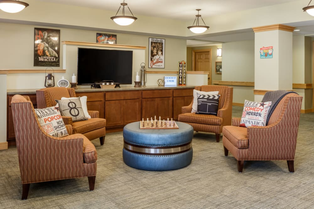 Common area to enjoy a movie together at Edencrest at Green Meadows in Johnston, Iowa