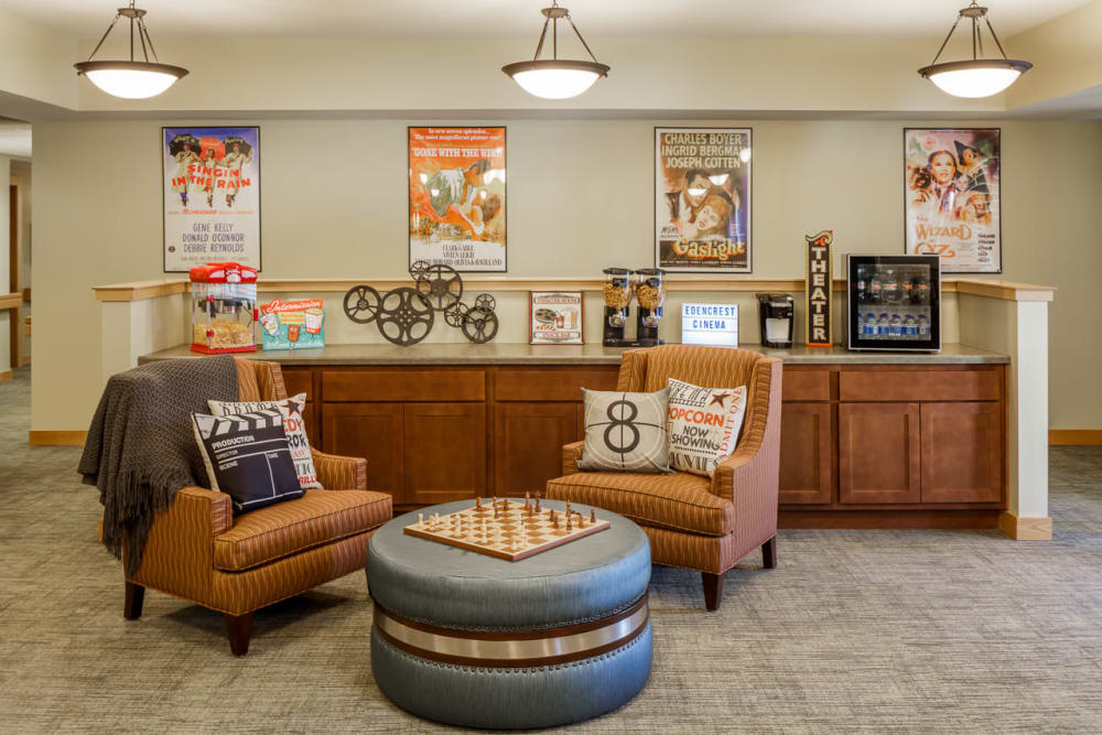 Common area to enjoy games at Edencrest at Green Meadows in Johnston, Iowa