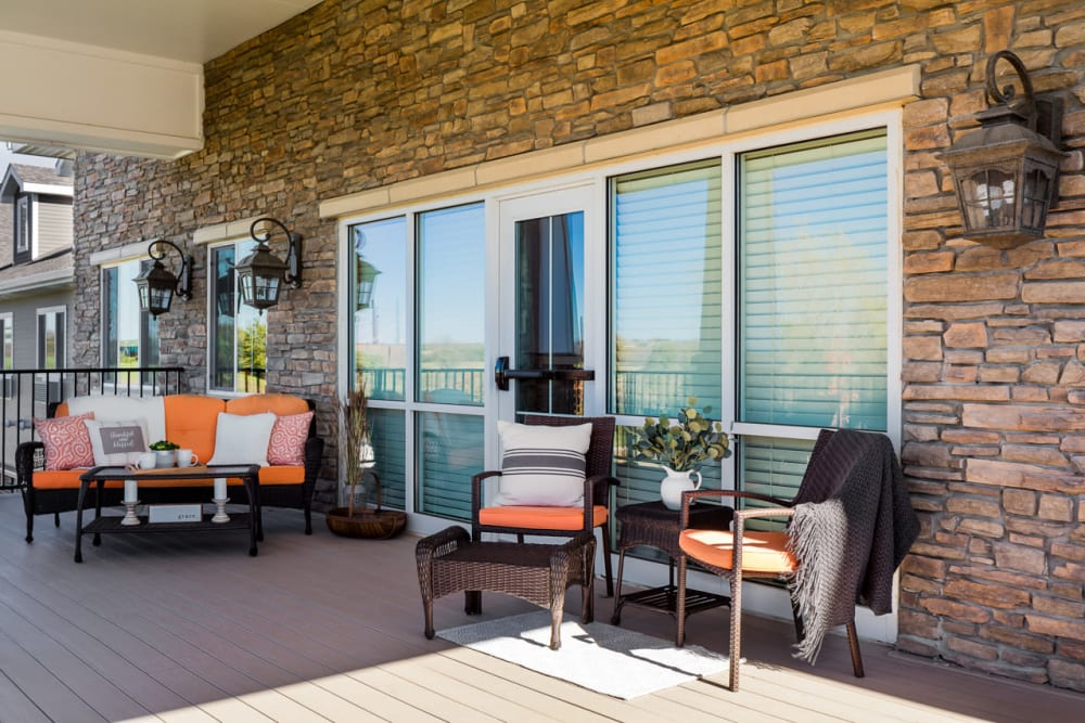 Patio to enjoy coffee at Edencrest at Green Meadows in Johnston, Iowa