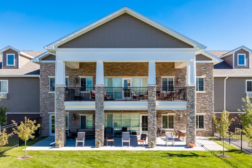 Balconies for residents to enjoy refresh air at Edencrest at Green Meadows in Johnston, Iowa