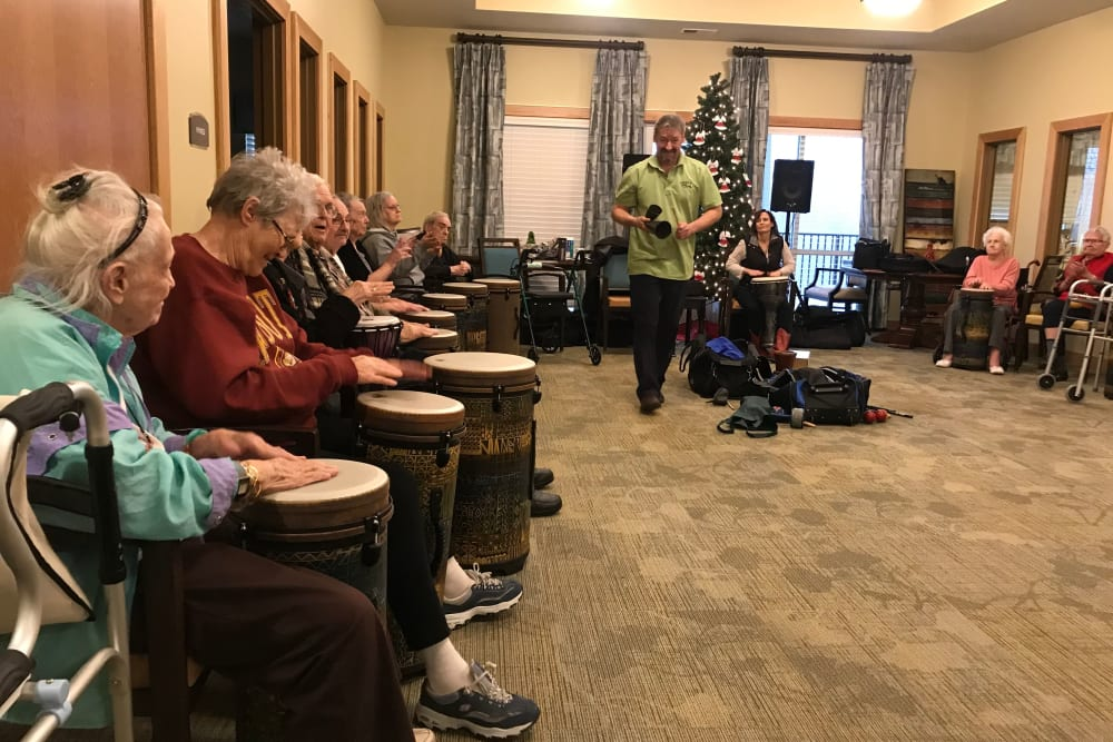 Drum class at Edencrest at Green Meadows in Johnston, Iowa