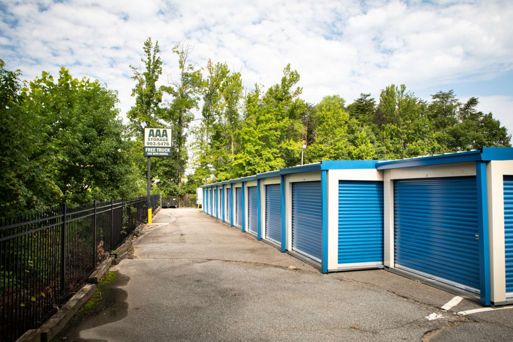 Blue self storage units at AAA Self Storage at Brookford Industrial Dr in Kernersville, North Carolina
