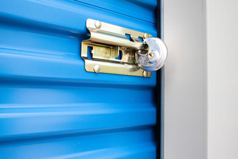 Lock on blue storage unit at AAA Self Storage at Brookford Industrial Dr in Kernersville, North Carolina