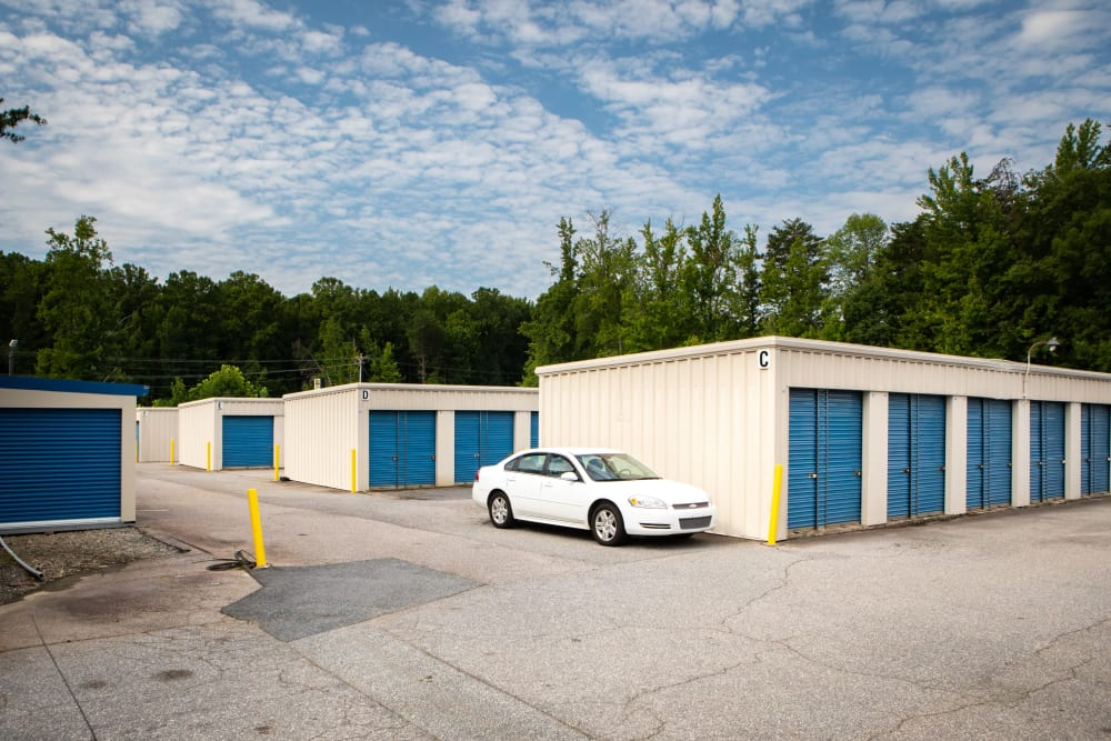 Large driveways and access to storage at AAA Self Storage at Brookford Industrial Dr in Kernersville, North Carolina