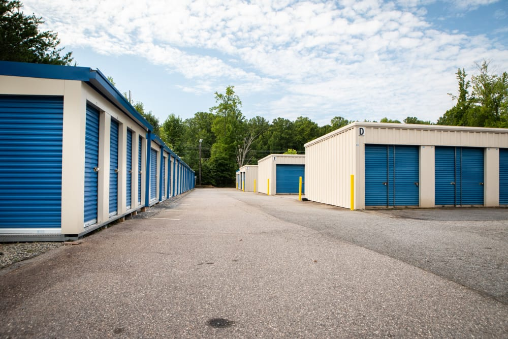 A variety of different self storage units at AAA Self Storage at Brookford Industrial Dr in Kernersville, North Carolina