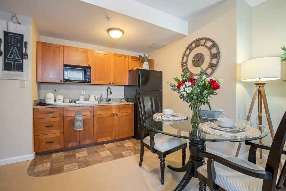 Kitchenette in a memory care unit at The Hearth at Franklin in Franklin, Tennessee