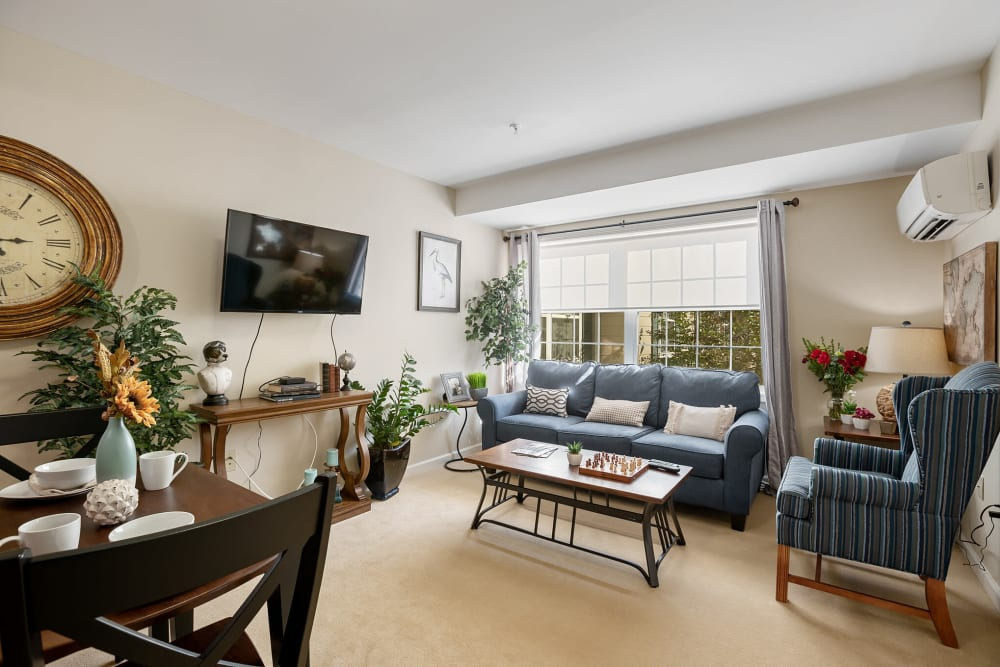 Model living room in a 1 bedroom senior apartment at The Hearth at Franklin in Franklin, Tennessee