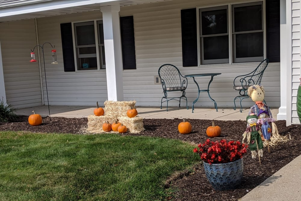 Patio decorated for fall at Ramsey Woods in Cudahy, Wisconsin.