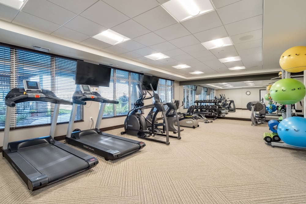 Fitness Room with modern equipment at Applewood Pointe Maple Grove at Arbor Lakes in Maple Grove, Minnesota