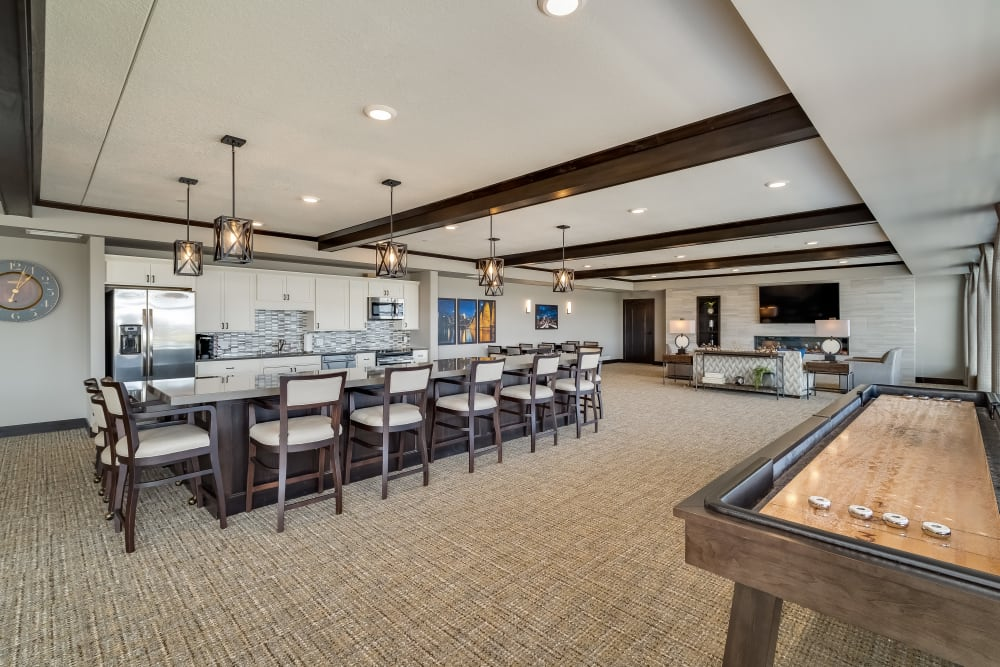 Game Room Kitchen at Applewood Pointe Maple Grove at Arbor Lakes in Maple Grove, Minnesota