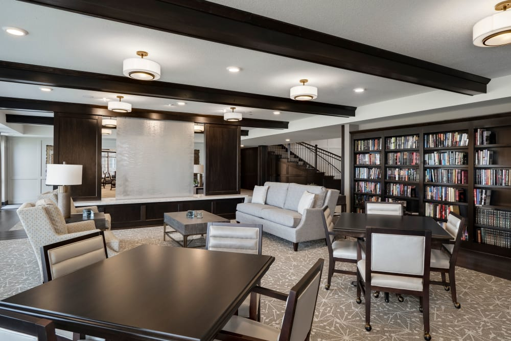 Library for residents and guests at Applewood Pointe Maple Grove at Arbor Lakes in Maple Grove, Minnesota